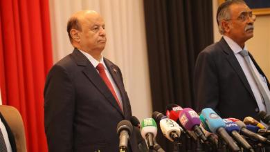 Yemeni President Abdu-Rabbu Mansour Hadi (L) is seen during the parliamentary session in Seiyun city of Hadramout province, Yemen, on April 13, 2019. Yemen's parliament convened on Saturday in the city of Seiyun, the second largest city in the southeastern province of Hadramout, for the first time since the outbreak of the devastating civil war in the impoverished Arab country in March 2015. (Xinhua/Ismail Rabidhy)