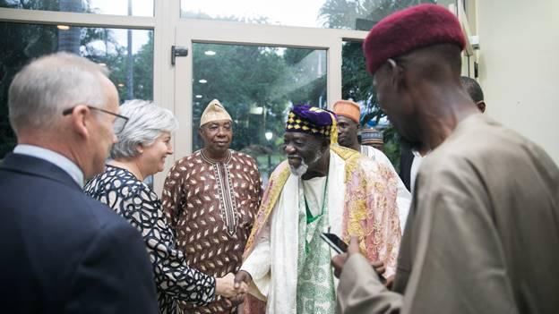 Ambassador Sullivan welcoming Chief Abdul Qadir Tahir, who represented the Chief Imam, to her residence. Looking on are Mr. John Sullivan and Sheikh Aremeyaw Shaibu.