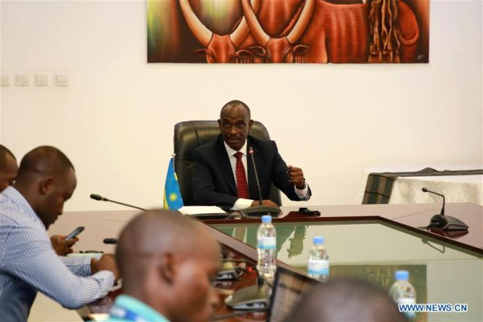 Rwandan Foreign Minister Richard Sezibera speaks at a press briefing in Kigali, capital of Rwanda, April 30, 2019. Rwanda has detained Callixte Nsabimana alias Sankara, who claims himself as the head of Rwanda rebel group National Liberation Force (NLF), Richard Sezibera said here Tuesday. NLF is a military wing of a Rwanda opposition political party, the Rwandan Movement for Democratic Change led by Rwandan dissident Paul Rusesabagina, known for protecting people during 1994's Rwandan genocide as a manager of Hotel des Mille Collines. (Xinhua/Lyu Tianran)