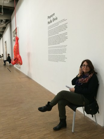 Taking a rest while still listening at Koons