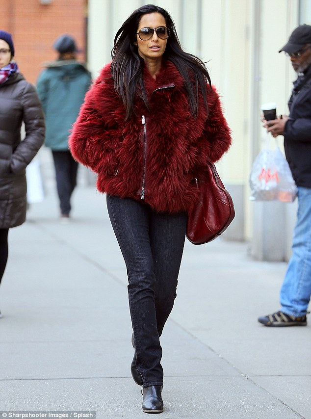 Standout: Padma Lakshmi, 44, was unable to go unnoticed on Friday as she made her way through the streets of New York City in a fur-like, berry color coat