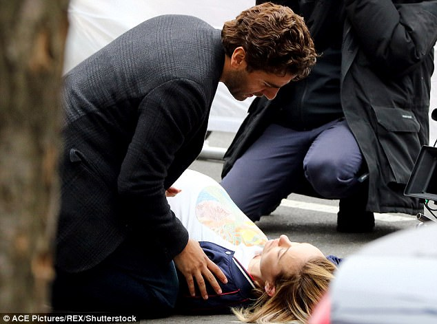 Grounded in reality: The 33-year-old actress shoots a scene for the upcoming drama Life Itself with co-star Oscar Isaac in New York in March