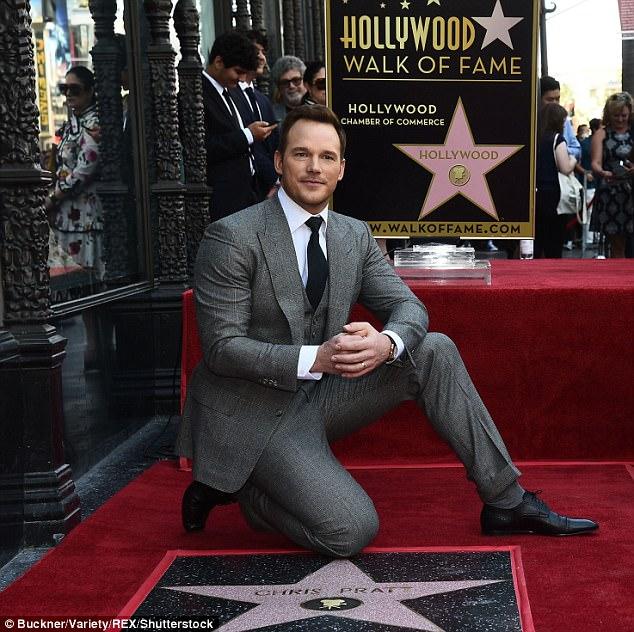 Stud: Pratt looked handsome in a grey suit and tie