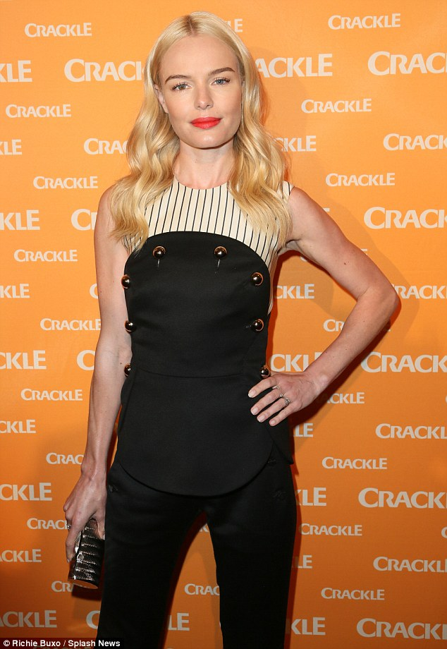 On point: Kate Bosworth stepped out in style on Wednesday in a modern two-piece suit for the Crackle Upfronts in NYC