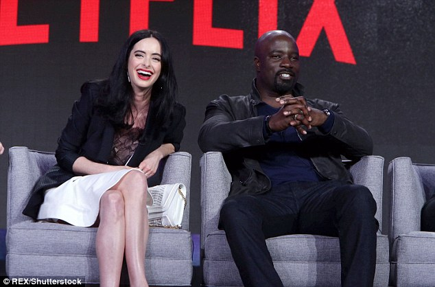 Laughter: She was joined by co-starMike Colter, who plays Luke Cage in the show
