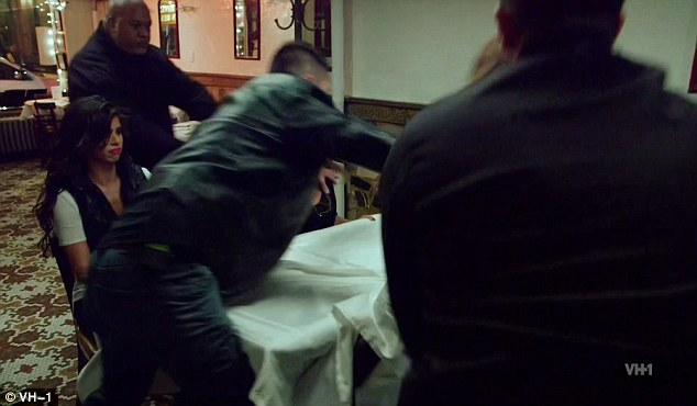 Escalating: Bouncers jumped in as the situation continued to escalate