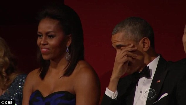 Emotional: President Barack Obama appeared to shed a tear at her performance