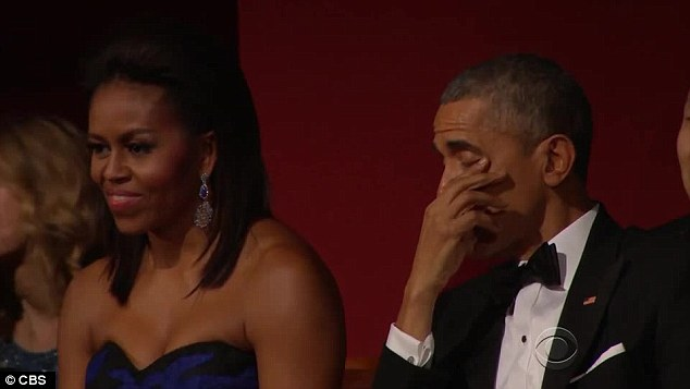 Impressive: The President wasn't the only person in the audience to be wowed by Aretha's vocals