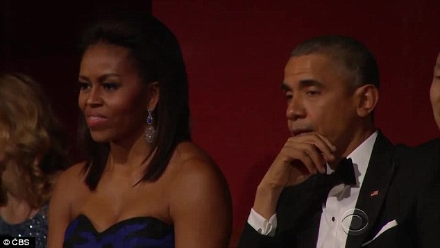 Enjoyment: The First Lady also appeared to be loving the rendition