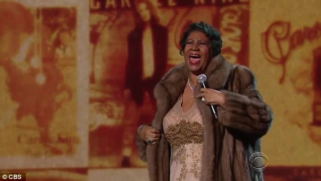 Hitting the high notes: When it came to the finale she took off her full-length fur