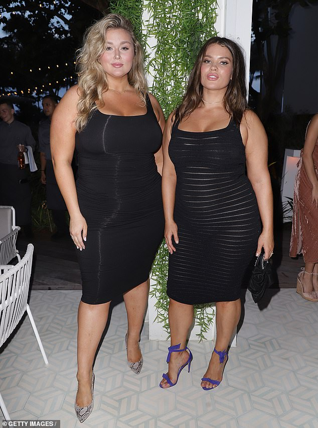 Curvy goddesses: Plus-size models Hunter McGrady (L) and Tara Lynn (R) were both dressed in elegant black dresses, solid for Hunter and with sheer stripes for Tara