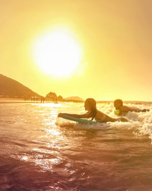 Surfing off Cantabria.