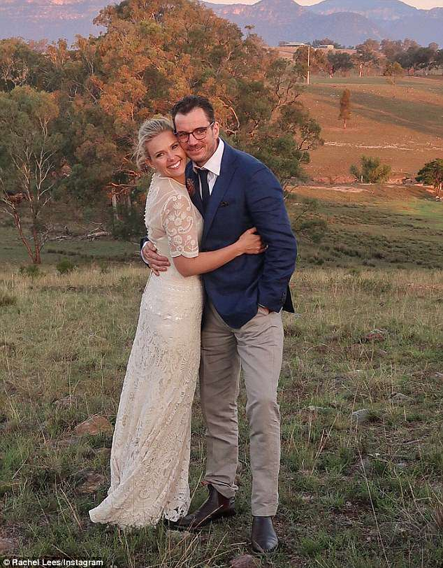 Fertility struggles: She said she and her husband of one-year Neil Varcoe (right) tried to conceive for six months before she got pregnant. Pictured on their wedding day in April last year
