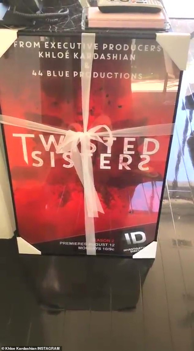 New season: She shared a video to Instagram, which she narrated with delight as she revealed the red framed print, which was framed and wrapped by a bow