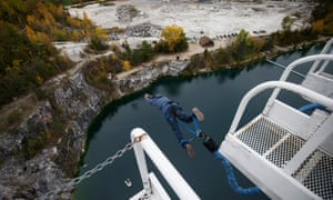 A person launches off a 61M tower as they bungee jump at Great Canadian Bungee Jump in Chelsea, Canada, October 7, 2018. (Cole Burston)