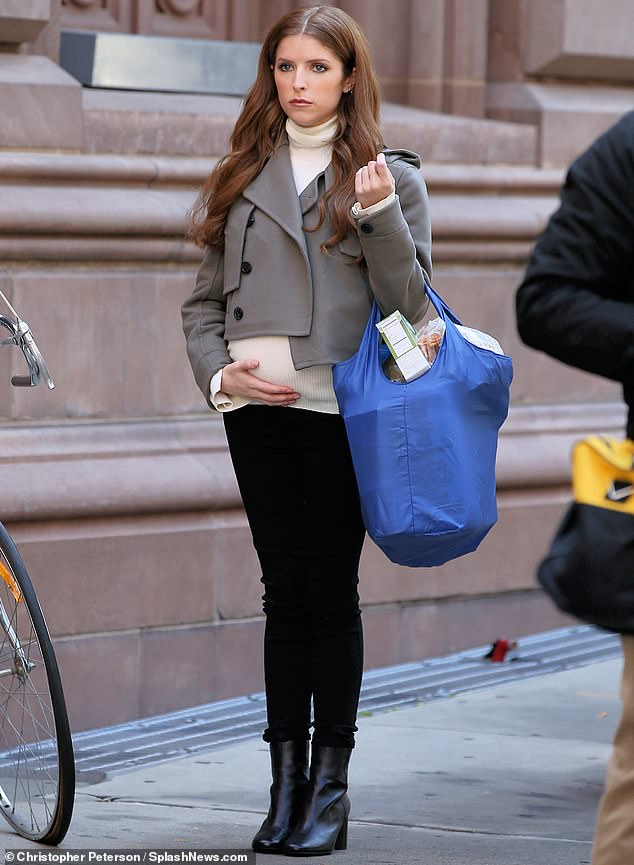 Bumpy day: Anna Kendrick was seen with a baby bump on Friday. But it was just a prop as the actress was on set in New York City filming a new anthology series called Love Life