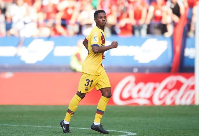 Ansu Fati reacts after scoring for Barcelona against Osasuna