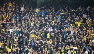 Fenerbahce fans celebrate after Elif Elmas scored the equaliser in their 1-1 draw against Galatasaray at the ükrü Saracolu Stadium in April 2019.