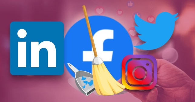 Logos from LinkedIn, Facebook, Twitter and Instagram, with a broom in front appearing to be sweeping up