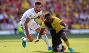 Danny Welbeck competes during Watford's home defeat to West Ham.