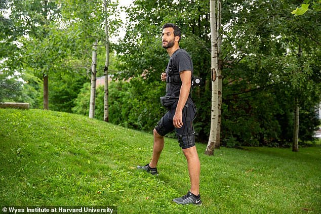 A revolutionary lightweight exosuit (pictured) that makes walking and running easier has been developed. Scientists say their pioneering design - weighing just five kilos (11 lbs) - could be worn by soldiers, firefighters or rescue workers