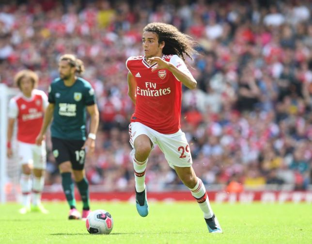 Matteo Guendouzi runs with the ball during Arsenal's match against Burnley