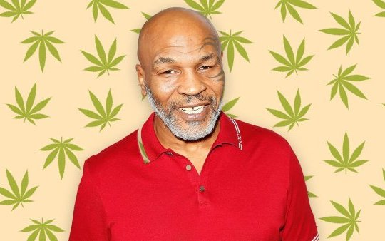 Mike Tyson against weed background