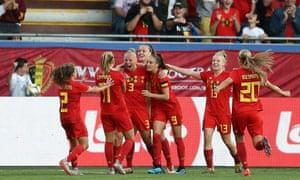 Ella Van Kerkhoven celebrates scoring Belgium's equaliser.