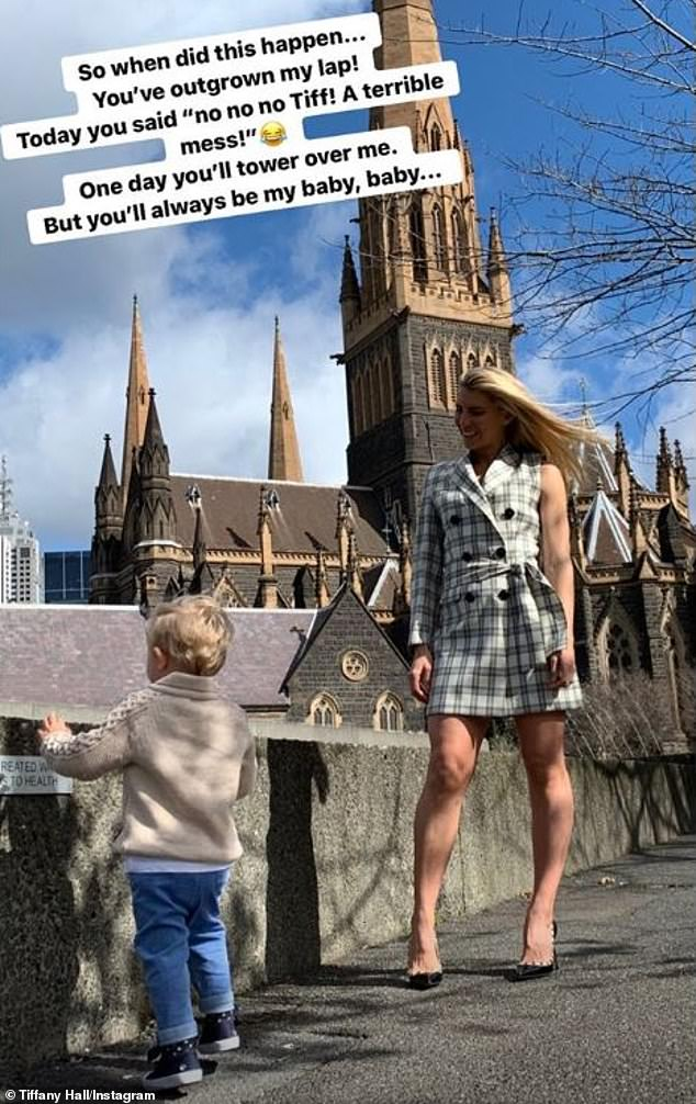 'You've outgrown my lap!' Tiffany Hall gushes over her one-year-old son Arnold who she shares with Ed Kavalee