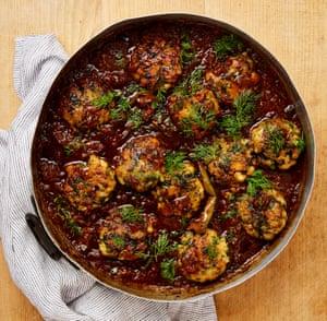 Yotam Ottolenghi's fish kofta in ancho chilli and tomato sauce.