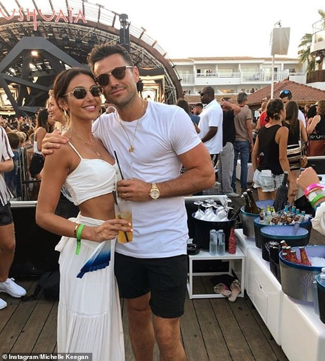 Happy couple:Michelle and husband Mark Wright have given fans a glimpse into their scenic Ibiza holiday with a series of envy-inducing social media snaps