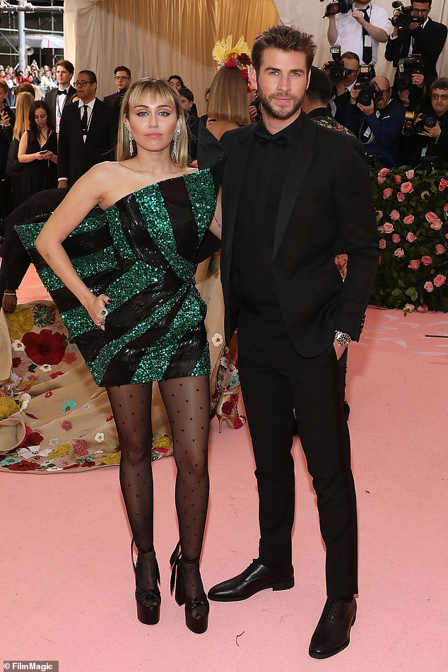 Happier times: Miley and Liam's split was confirmed on August 10, when a representative for the Slide Away singer said the couple had 'agreed to separate', seven months after tying the knot just before Christmas last year; pictured May 6, 2019 at the Met Gala in NYC