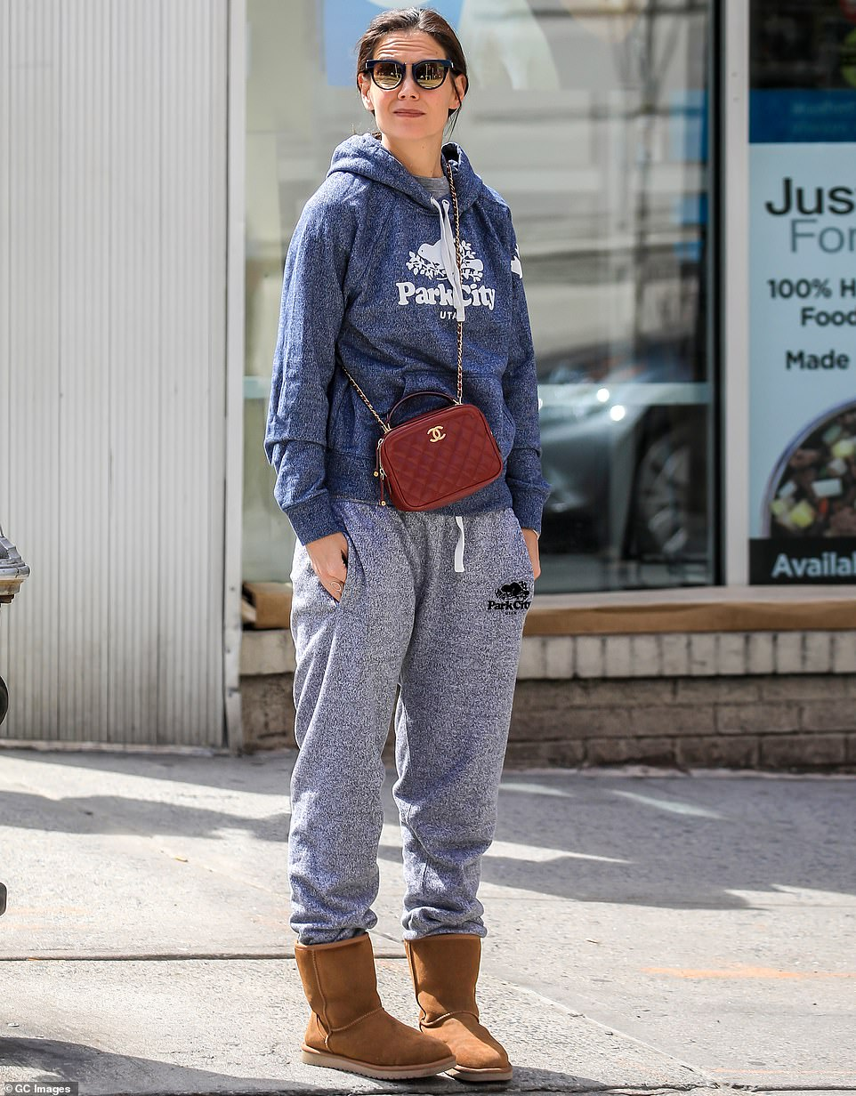 Dressing for comfort:A month prior, she could be spotted accessorizing with her red Chanel purse while keeping cozy in sweats that advertised Park City, Utah, home of the Sundance Film Festival