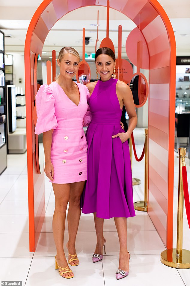 A pop of colour! On the day, she joined fellow Myer ambassador Rachael Finch (right), who turned heads in a stylish purple frock