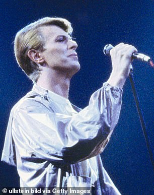 Bowie is pictured on stage in Germany