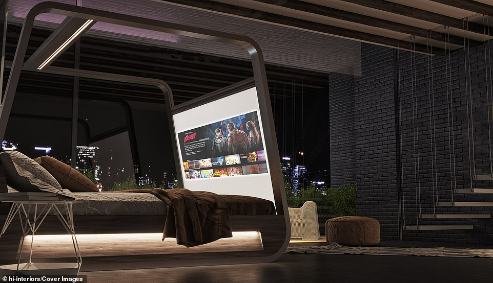 Binge-watch: The frame has its own app which operates the built-in 4K projector, a retractable 70-inch screen and speakers