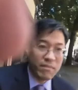 Last week, Dr Pan was pushed and verbally berated by an anti-vaxxer who live streamed the altercation (pictured)