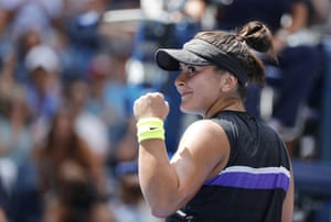 Bianca Andreescu reacts after defeating Caroline Wozniacki.