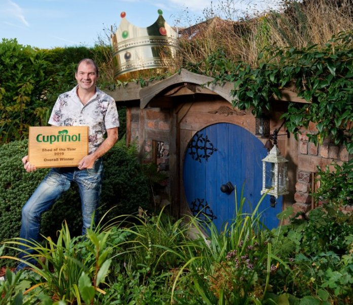 ?? MATTHEW POVER (07971 184305). 10/09/19. Sheddie Chris Heild and his winning Natures Haven shed at his home in Buxton, Lancashire. Respect copyright law. No syndication without prior consent.