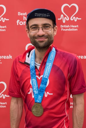 Tim Walker after completing the 100-mile RideLondon cycling event