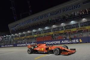 Vettel leads Leclerc by five seconds.