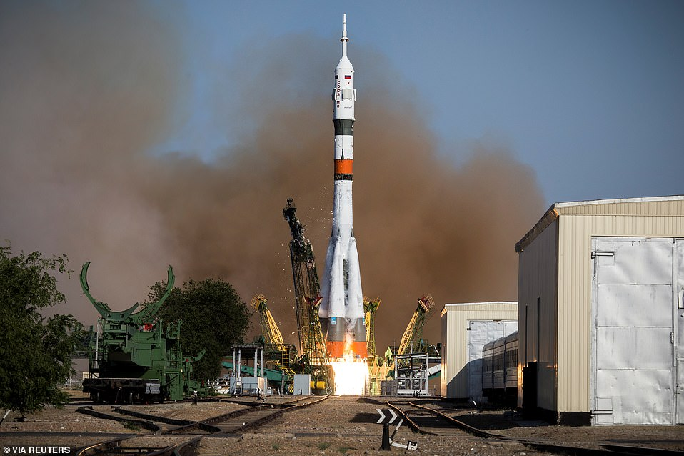 Russian Soyuz-2.1a booster with the Soyuz MS-14 spacecraft carrying robot Skybot F-850 blasted off from a launchpad at the Baikonur Cosmodrome, Kazakhstan. Fedor was sent to the station for tests and to assist astronauts