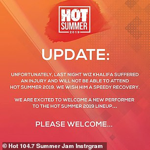 Replacement:The Hot Summer Instagram also informed fans of Khalifa's injury and that DMX would be replacing him
