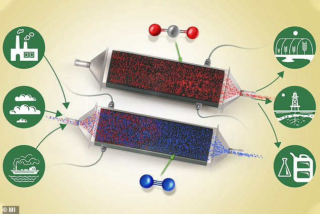A revolutionary new carbon dioxide filtering device that can work on gases of any concentration could be a vital tool for combating climate change. Pictured, the device in operation. During the charging cycle, bottom, CO2 (red) is captured on the electrodes, leaving filtered oxygen (blue) to pass out of the device. When discharged, top, pure CO2 is released