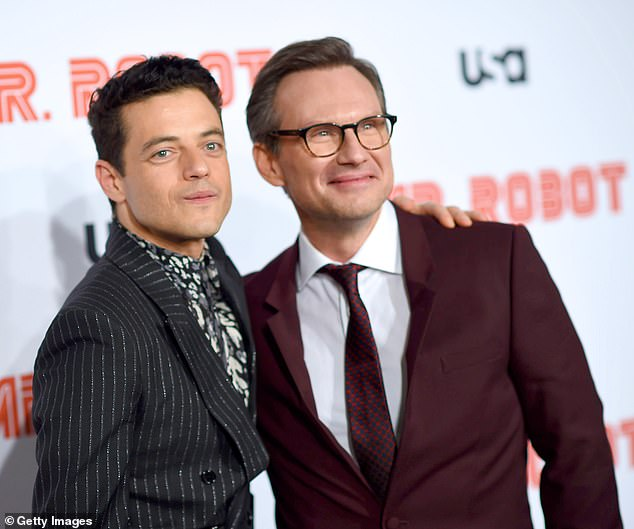 Leads: Rami Malik and Christian Slater donned suits for the premiere