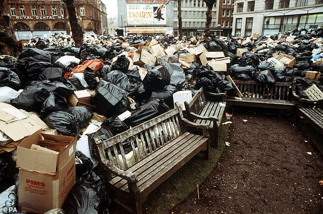 Rubbish piled high in the streets and rats ran around in Leicester Square as dustbin men and other public sector workers went on strike to support a pay rise demand in the winter of discontent (1978)