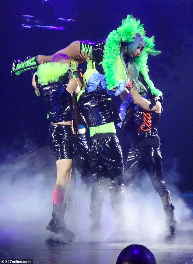 Careful! This time Gaga relied on her dancers for the heavy lifting