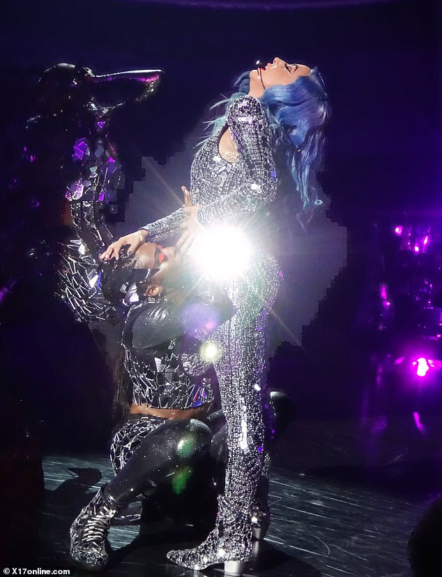Dancing while performing: Gaga during one of her routines