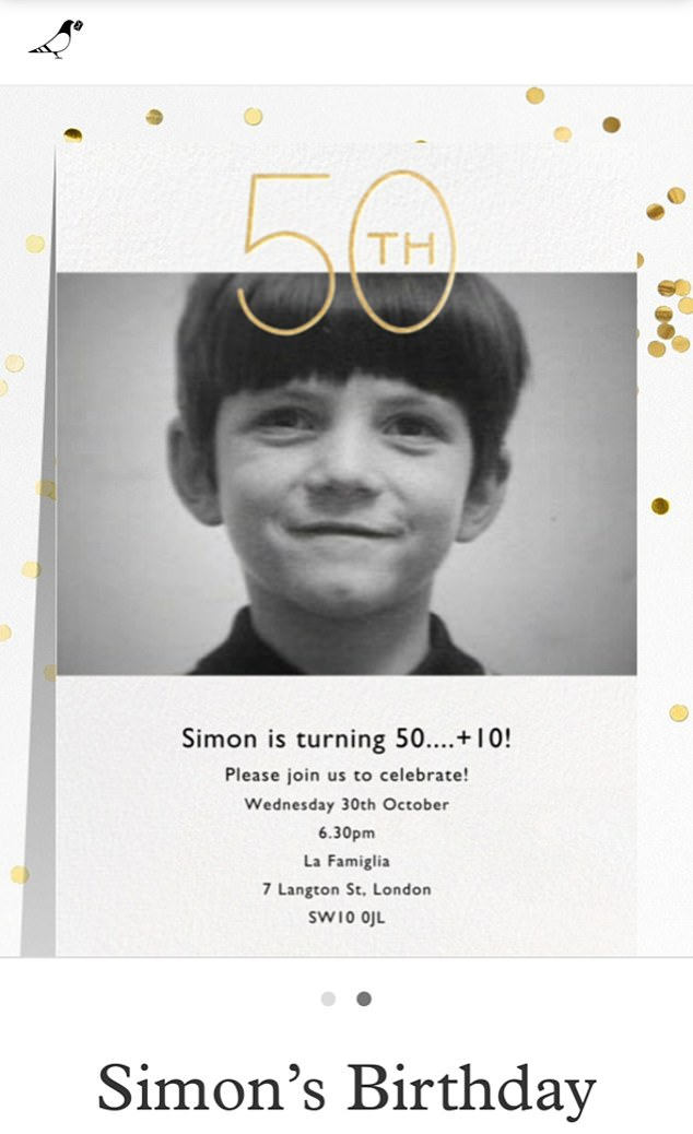 Rearranging:Simon, who celebrated his actual birthday with a small dinner in LA earlier this month, is said to be rearranging his party for December (Simon's original invite pictured)