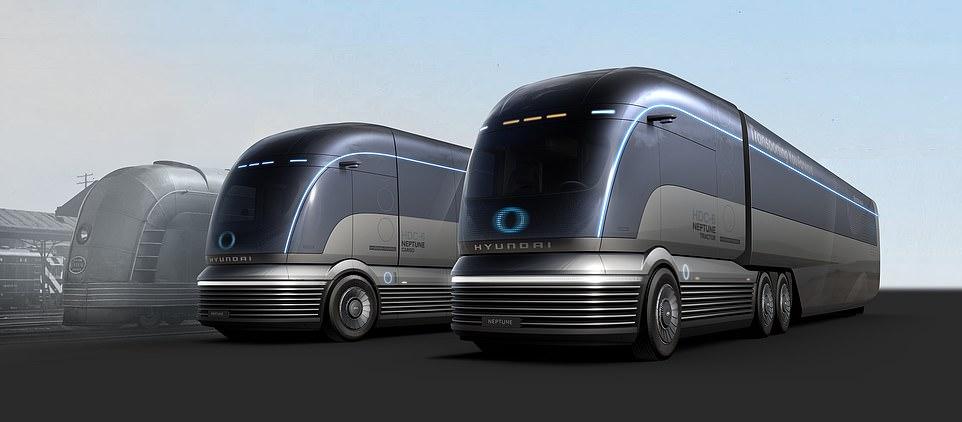 A fleet ofHDC-6 Neptunes,a driverless, hydrogen-powdered heavy goods lorry